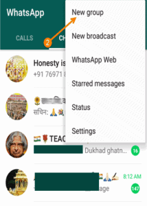 whatsapp group create